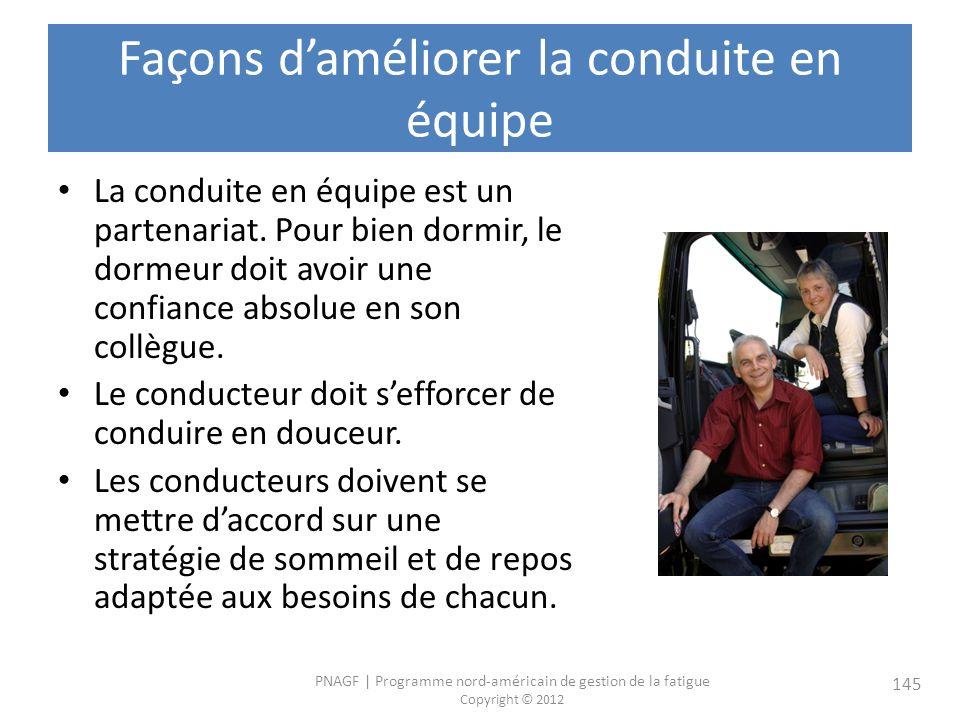 PNAGF   Programme nord-américain de gestion de la fatigue Copyright © 2012 145 Façons daméliorer la conduite en équipe La conduite en équipe est un partenariat.