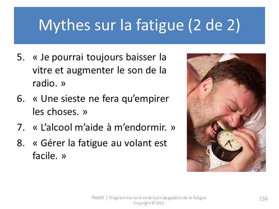 PNAGF   Programme nord-américain de gestion de la fatigue Copyright © 2012 156 Mythes sur la fatigue (2 de 2) 5.« Je pourrai toujours baisser la vitre et augmenter le son de la radio.