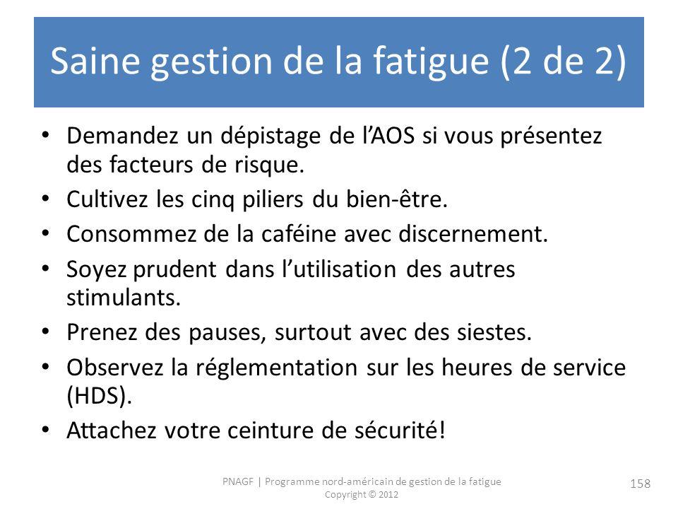 PNAGF   Programme nord-américain de gestion de la fatigue Copyright © 2012 158 Saine gestion de la fatigue (2 de 2) Demandez un dépistage de lAOS si vous présentez des facteurs de risque.
