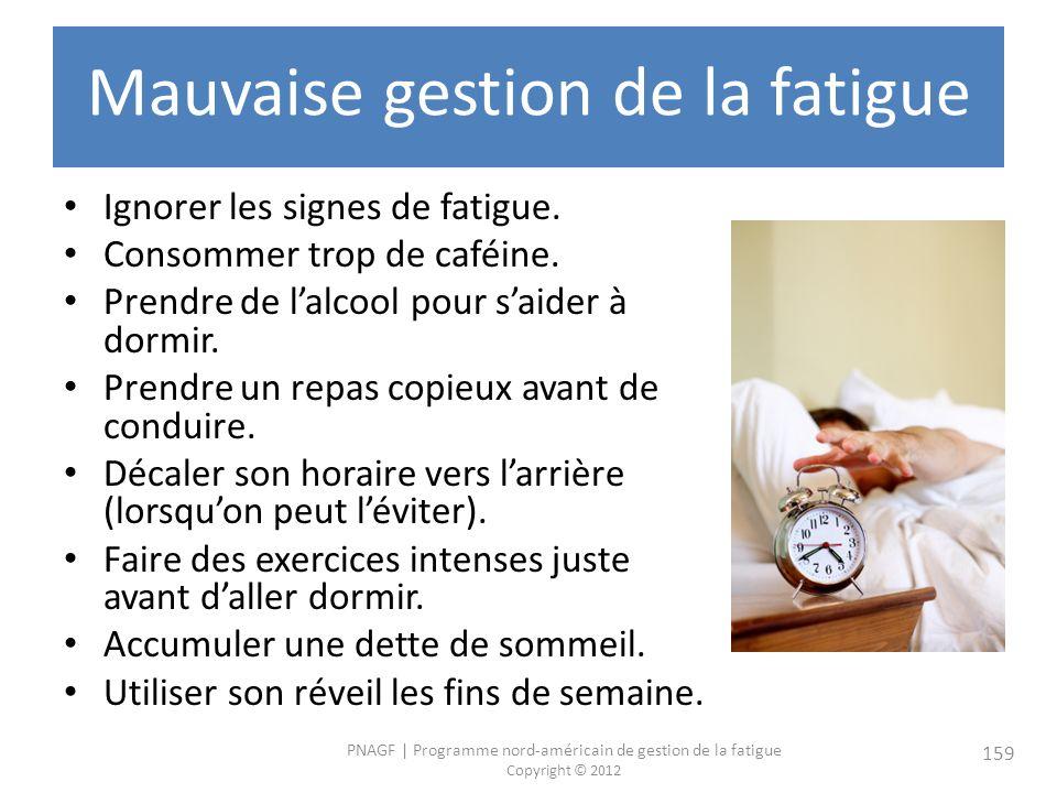 PNAGF   Programme nord-américain de gestion de la fatigue Copyright © 2012 159 Mauvaise gestion de la fatigue Ignorer les signes de fatigue.