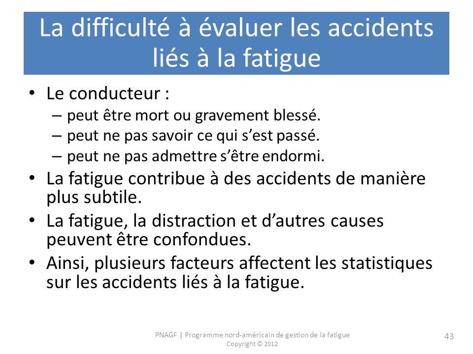 PNAGF   Programme nord-américain de gestion de la fatigue Copyright © 2012 43 La difficulté à évaluer les accidents liés à la fatigue Le conducteur : – peut être mort ou gravement blessé.