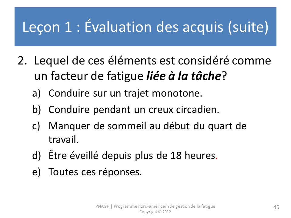 PNAGF   Programme nord-américain de gestion de la fatigue Copyright © 2012 45 Leçon 1 : Évaluation des acquis (suite) 2.Lequel de ces éléments est considéré comme un facteur de fatigue liée à la tâche.
