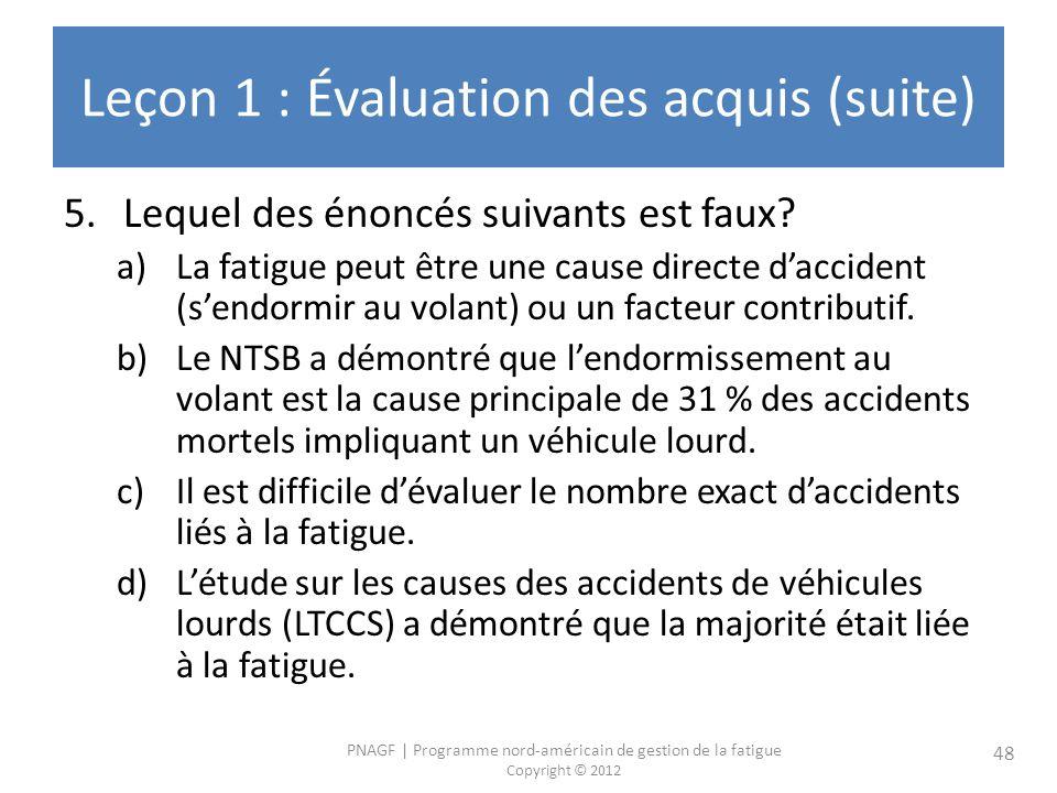 PNAGF   Programme nord-américain de gestion de la fatigue Copyright © 2012 48 Leçon 1 : Évaluation des acquis (suite) 5.Lequel des énoncés suivants est faux.