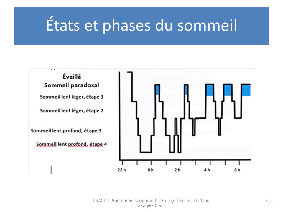 PNAGF   Programme nord-américain de gestion de la fatigue Copyright © 2012 53 États et phases du sommeil