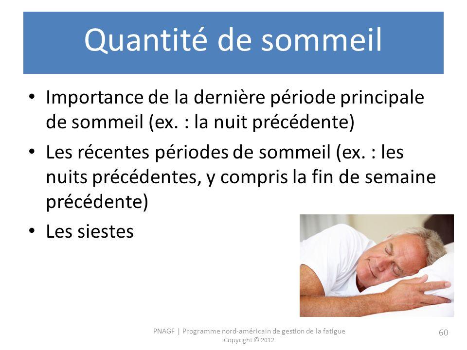 PNAGF   Programme nord-américain de gestion de la fatigue Copyright © 2012 60 Quantité de sommeil Importance de la dernière période principale de sommeil (ex.