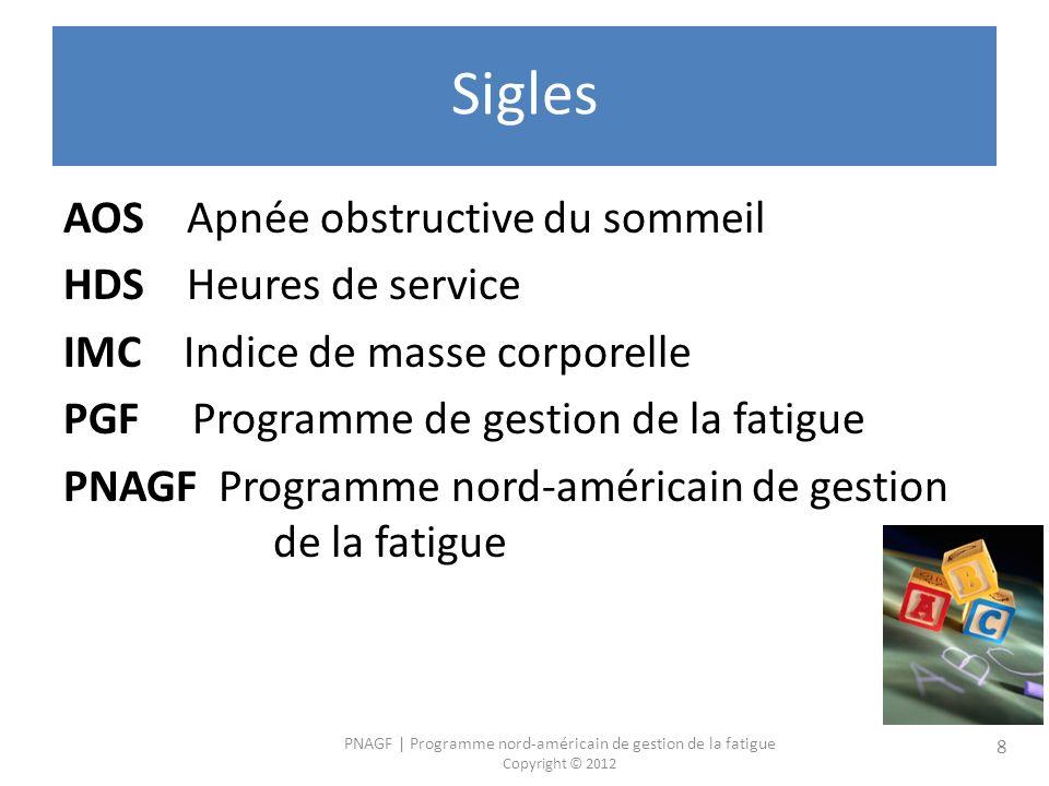 PNAGF   Programme nord-américain de gestion de la fatigue Copyright © 2012 8 Sigles AOS Apnée obstructive du sommeil HDS Heures de service IMC Indice de masse corporelle PGF Programme de gestion de la fatigue PNAGF Programme nord-américain de gestion de la fatigue