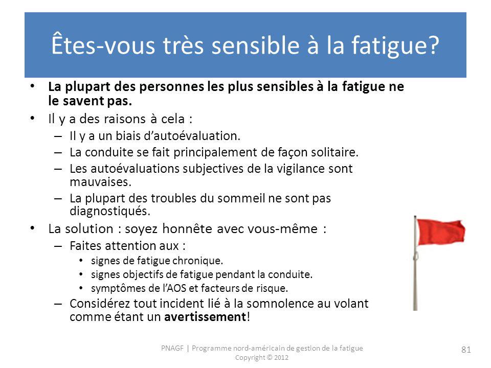 PNAGF   Programme nord-américain de gestion de la fatigue Copyright © 2012 81 Êtes-vous très sensible à la fatigue.