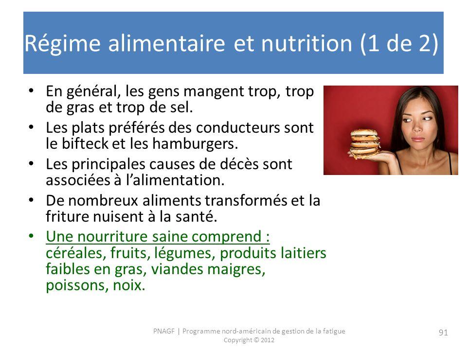 PNAGF   Programme nord-américain de gestion de la fatigue Copyright © 2012 91 Régime alimentaire et nutrition (1 de 2) En général, les gens mangent trop, trop de gras et trop de sel.