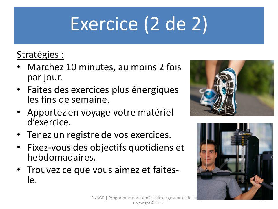 PNAGF   Programme nord-américain de gestion de la fatigue Copyright © 2012 94 Exercice (2 de 2) Stratégies : Marchez 10 minutes, au moins 2 fois par jour.
