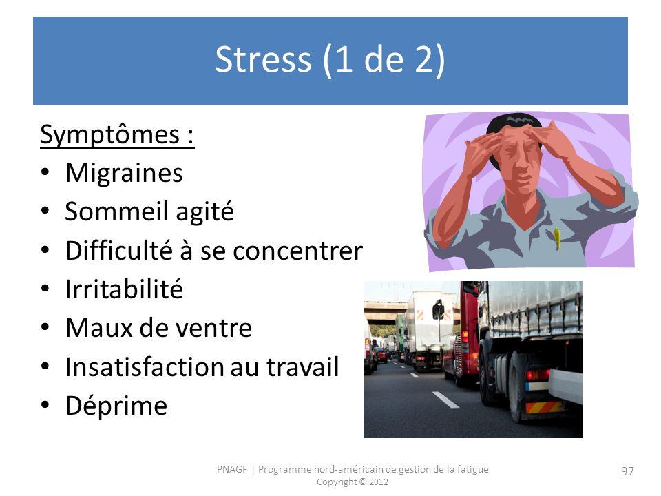 PNAGF   Programme nord-américain de gestion de la fatigue Copyright © 2012 97 Stress (1 de 2) Symptômes : Migraines Sommeil agité Difficulté à se concentrer Irritabilité Maux de ventre Insatisfaction au travail Déprime