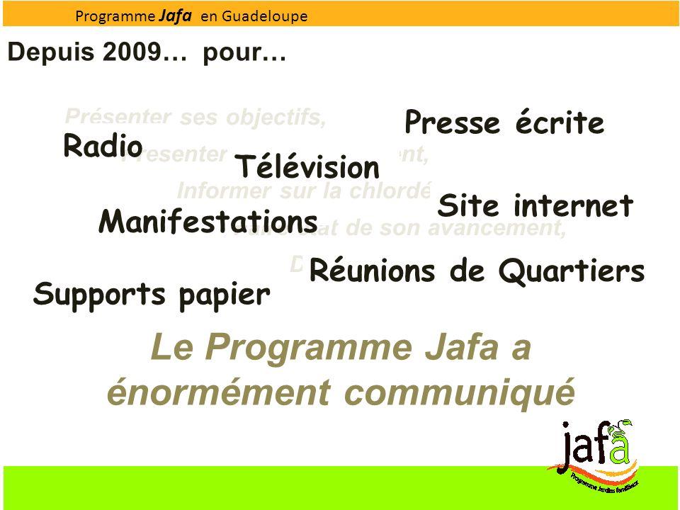 Programme Jafa en Guadeloupe Le Programme Jafa a énormément communiqué Depuis 2009… pour… Présenter ses objectifs, Présenter son déroulement, Informer