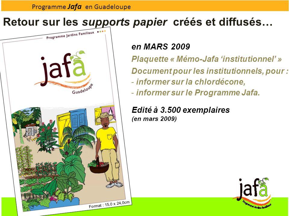 Programme Jafa en Guadeloupe en MARS 2009 Plaquette « Mémo-Jafa institutionnel » Document pour les institutionnels, pour : - informer sur la chlordéco