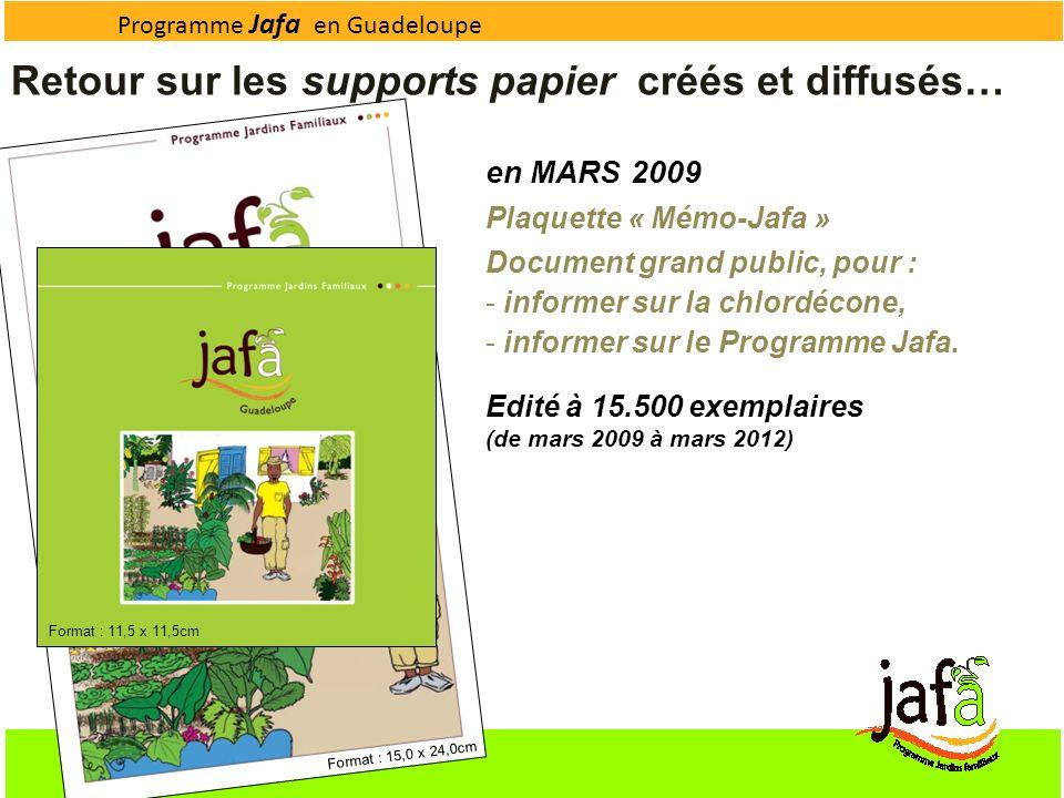 Programme Jafa en Guadeloupe Retour sur les supports papier créés et diffusés… Format : 15,0 x 24,0cm Format : 11,5 x 11,5cm en MARS 2009 Plaquette «