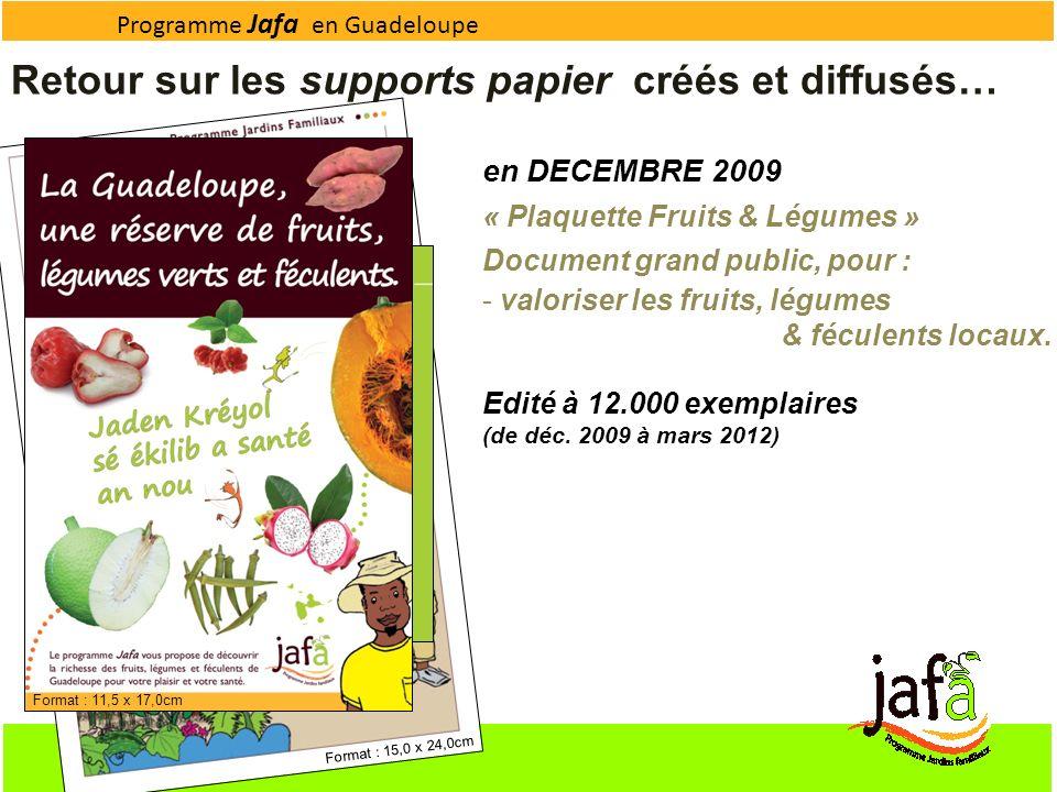 Programme Jafa en Guadeloupe Retour sur les supports papier créés et diffusés… en DECEMBRE 2009 « Plaquette Fruits & Légumes » Document grand public,