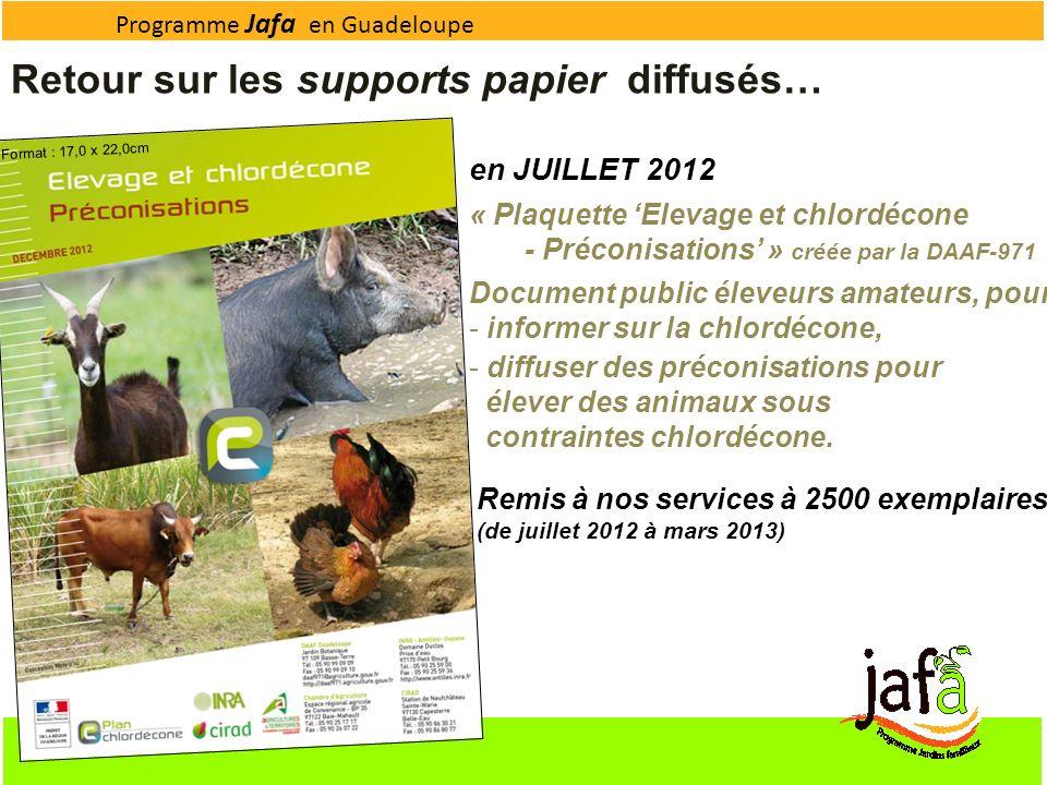 Programme Jafa en Guadeloupe Format : 17,0 x 22,0cm Retour sur les supports papier diffusés… en JUILLET 2012 « Plaquette Elevage et chlordécone - Préc