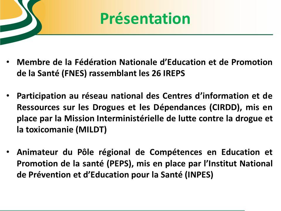 Présentation Membre de la Fédération Nationale dEducation et de Promotion de la Santé (FNES) rassemblant les 26 IREPS Participation au réseau national