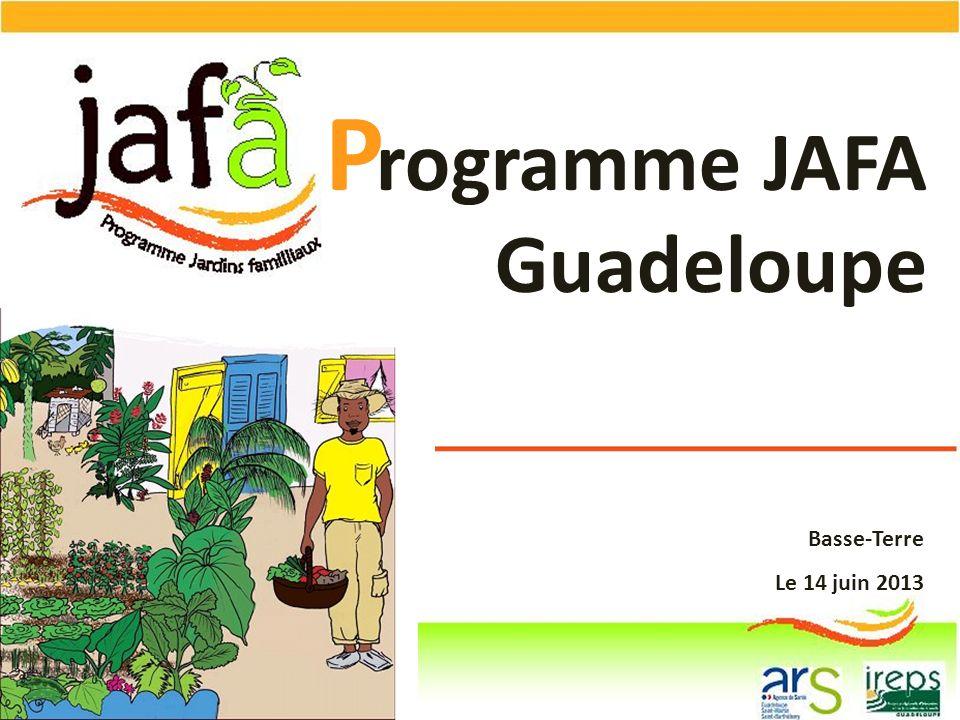 Programme Jafa en Guadeloupe en MARS 2009 Plaquette « Mémo-Jafa institutionnel » Document pour les institutionnels, pour : - informer sur la chlordécone, - informer sur le Programme Jafa.