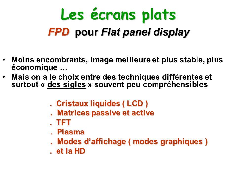 Les écrans plats FPD pour Flat panel display Moins encombrants, image meilleure et plus stable, plus économique … Mais on a le choix entre des techniq