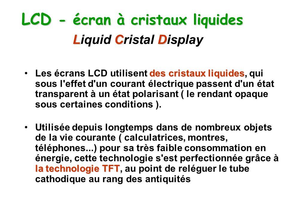 LCD - écran à cristaux liquides LCD LCD - écran à cristaux liquides Liquid Cristal Display des cristaux liquidesLes écrans LCD utilisent des cristaux