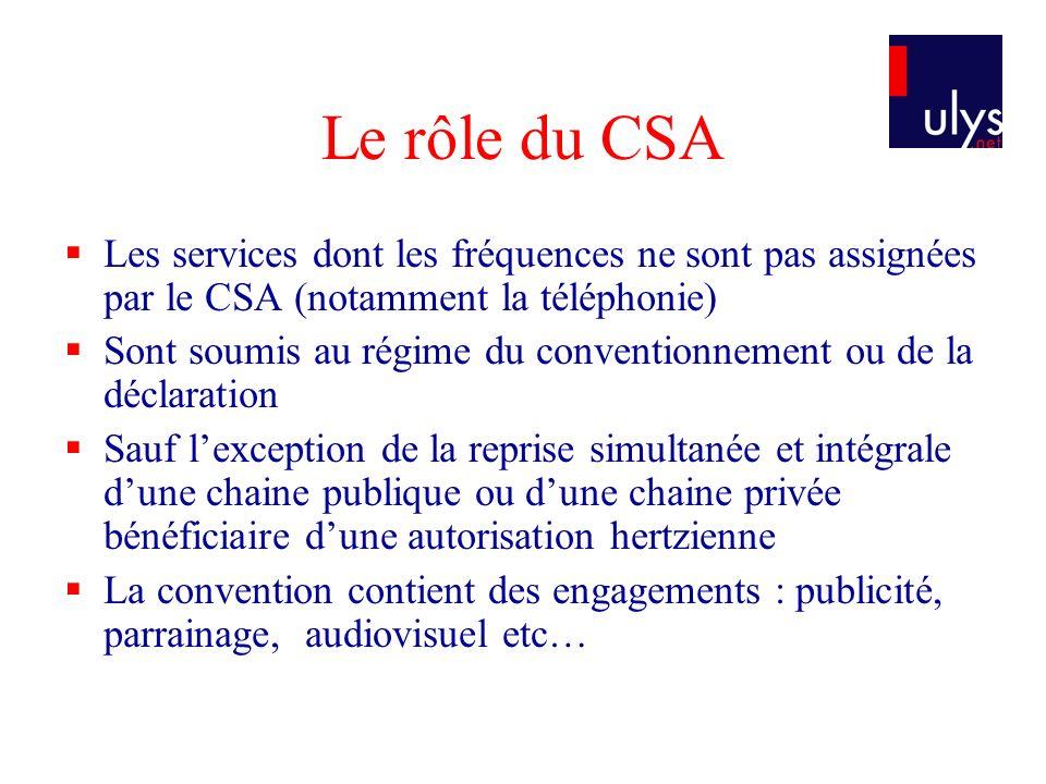 Le rôle du CSA Les services dont les fréquences ne sont pas assignées par le CSA (notamment la téléphonie) Sont soumis au régime du conventionnement o