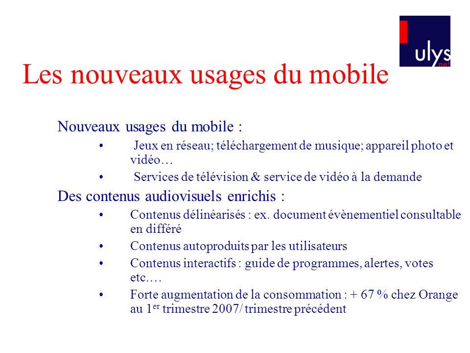 Les nouveaux usages du mobile Nouveaux usages du mobile : Jeux en réseau; téléchargement de musique; appareil photo et vidéo… Services de télévision &