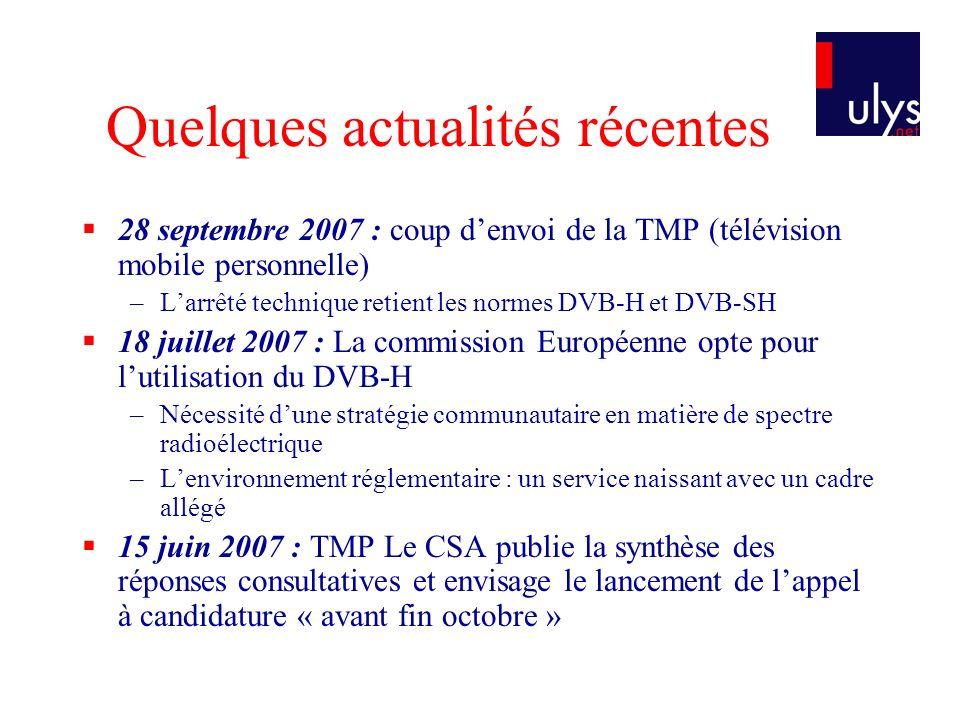 Quelques actualités récentes 28 septembre 2007 : coup denvoi de la TMP (télévision mobile personnelle) –Larrêté technique retient les normes DVB-H et