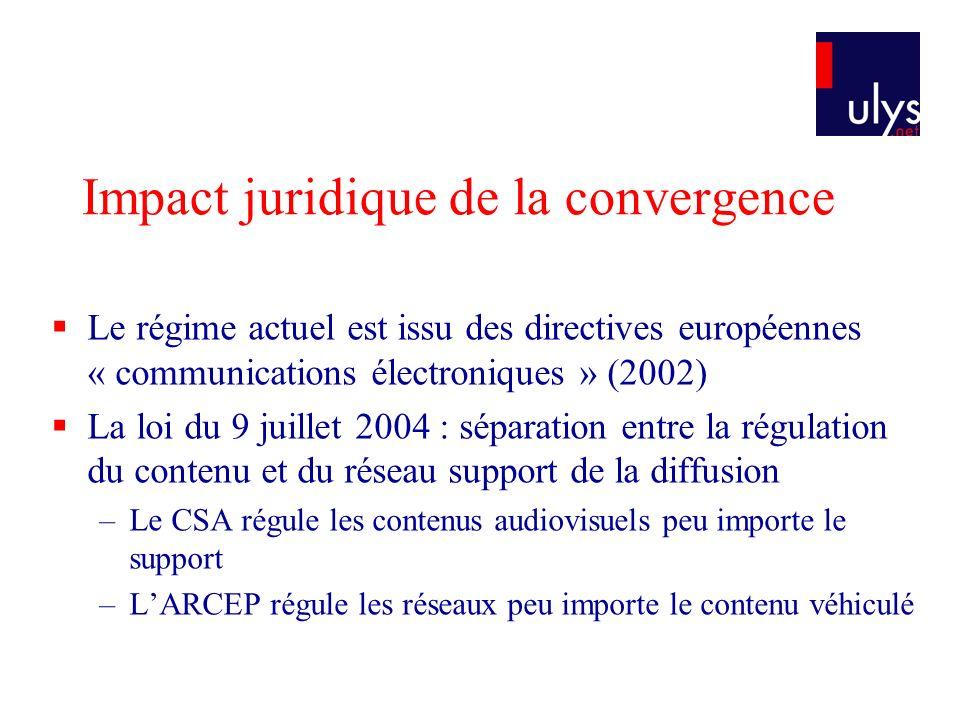 Impact juridique de la convergence Le régime actuel est issu des directives européennes « communications électroniques » (2002) La loi du 9 juillet 20