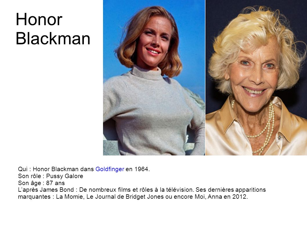 Honor Blackman Qui : Honor Blackman dans Goldfinger en 1964.