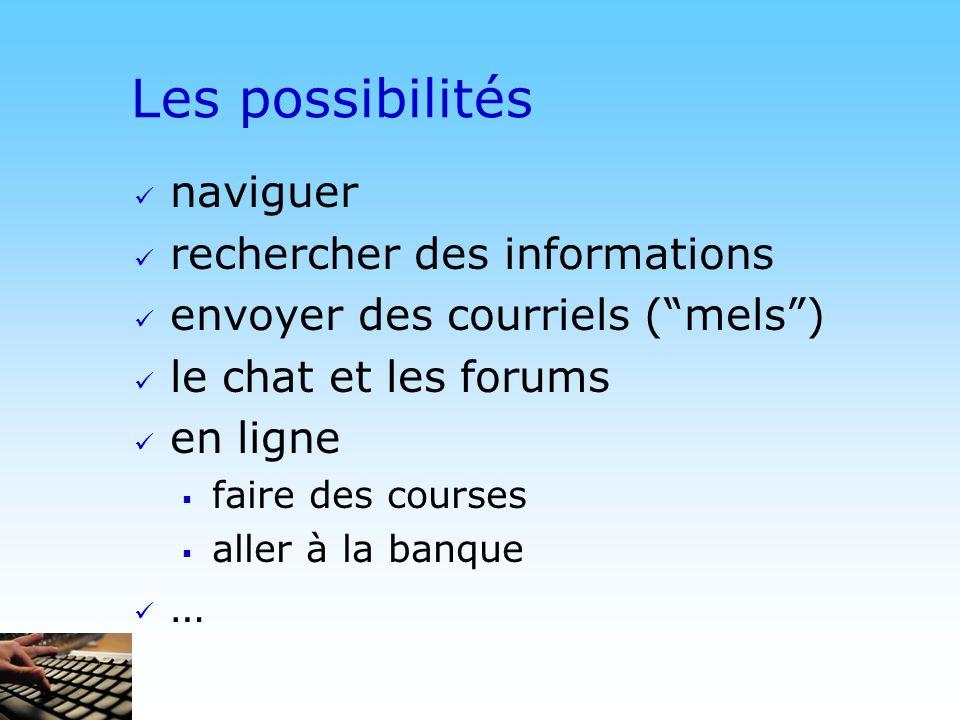 © DN Les possibilités naviguer rechercher des informations envoyer des courriels (mels) le chat et les forums en ligne faire des courses aller à la banque …