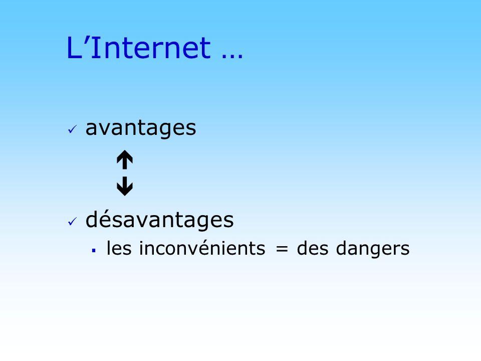 © DN LInternet … avantages désavantages les inconvénients = des dangers