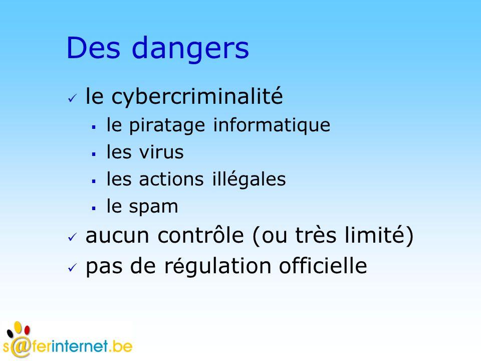 © DN Des dangers le cybercriminalité le piratage informatique les virus les actions illégales le spam aucun contrôle (ou très limité) pas de r é gulation officielle