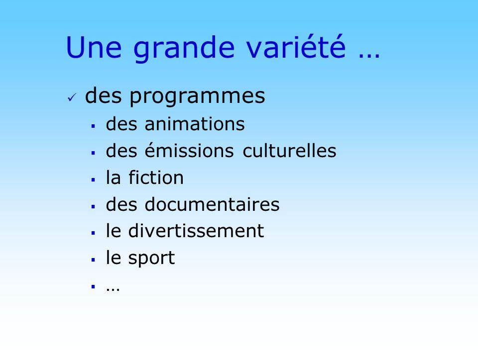 © DN Une grande variété … des programmes des animations des émissions culturelles la fiction des documentaires le divertissement le sport …