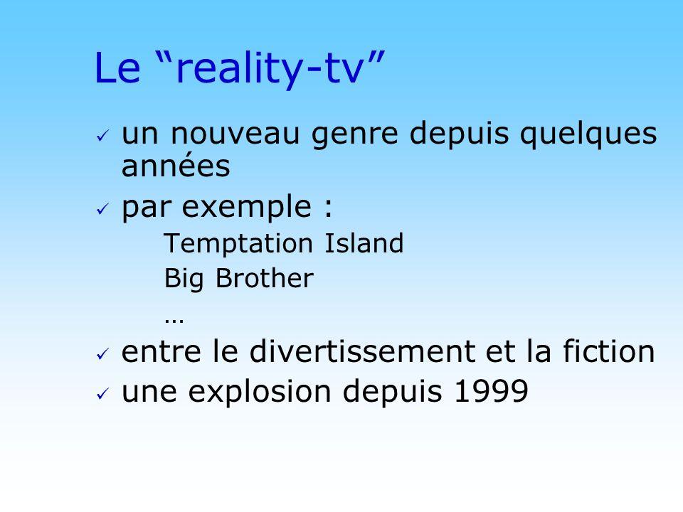 © DN Le reality-tv un nouveau genre depuis quelques années par exemple : Temptation Island Big Brother … entre le divertissement et la fiction une explosion depuis 1999