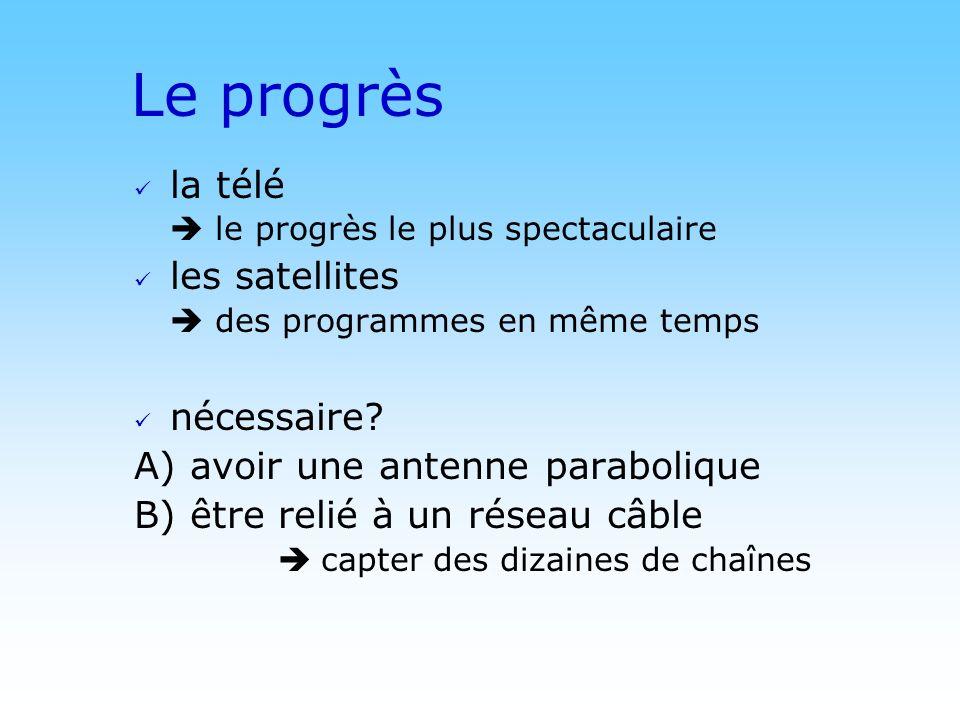 © DN Le progrès la télé le progrès le plus spectaculaire les satellites des programmes en même temps nécessaire? A) avoir une antenne parabolique B) ê