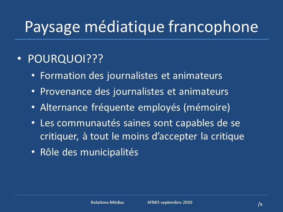 /x Paysage médiatique francophone POURQUOI .