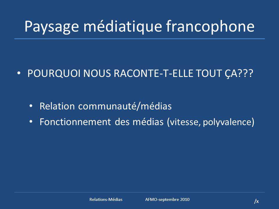 /x Paysage médiatique francophone POURQUOI NOUS RACONTE-T-ELLE TOUT ÇA .