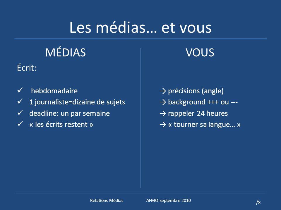 /x Les médias… et vous MÉDIASVOUS Écrit: hebdomadaire précisions (angle) 1 journaliste=dizaine de sujets background +++ ou --- deadline: un par semaine rappeler 24 heures « les écrits restent » « tourner sa langue… » Relations-MédiasAFMO-septembre 2010