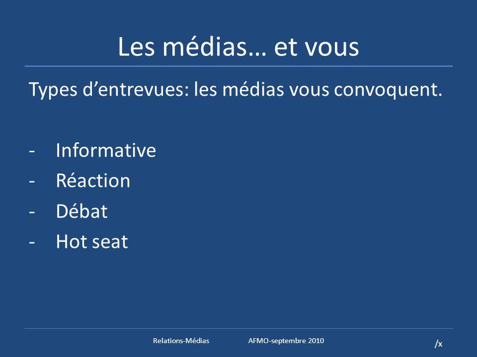 /x Les médias… et vous Types dentrevues: les médias vous convoquent.