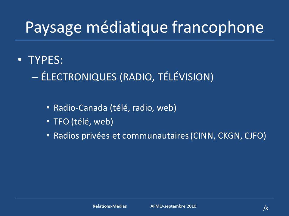 /x Paysage médiatique francophone TYPES: – ÉLECTRONIQUES (RADIO, TÉLÉVISION) Radio-Canada (télé, radio, web) TFO (télé, web) Radios privées et communautaires (CINN, CKGN, CJFO) – PRESSE ÉCRITE (HEBDOS, WEB (?)) Hebdomadaires (Le Nord, Le Voyageur, LExpress, etc.) Quotidiens (Le Droit, La Presse) Relations-MédiasAFMO-septembre 2010