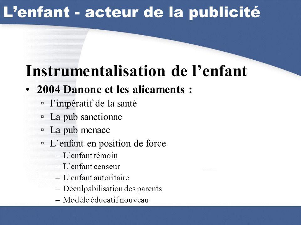 Lenfant - acteur de la publicité Instrumentalisation de lenfant 2004 Danone et les alicaments : limpératif de la santé La pub sanctionne La pub menace