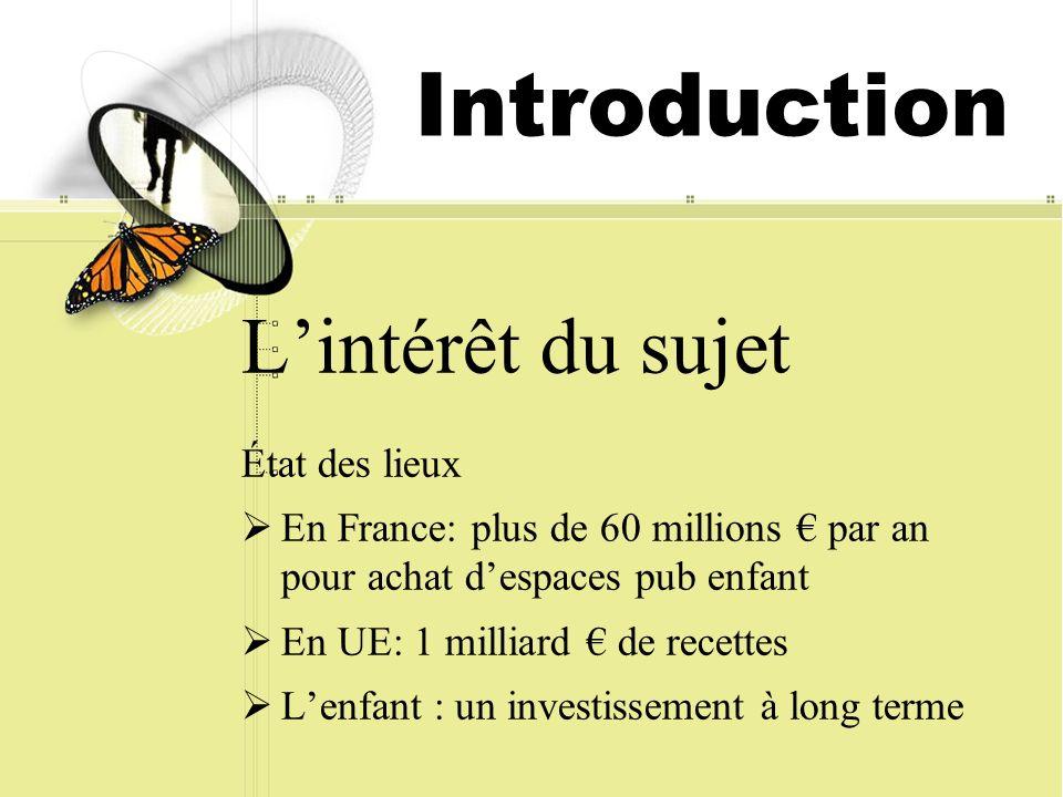 Introduction Lintérêt du sujet État des lieux En France: plus de 60 millions par an pour achat despaces pub enfant En UE: 1 milliard de recettes Lenfant : un investissement à long terme