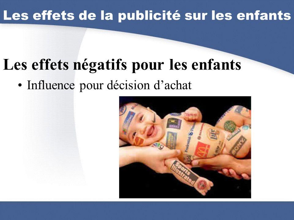 Les effets négatifs pour les enfants Influence pour décision dachat Les effets de la publicité sur les enfants