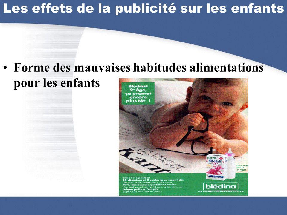 Forme des mauvaises habitudes alimentations pour les enfants Les effets de la publicité sur les enfants
