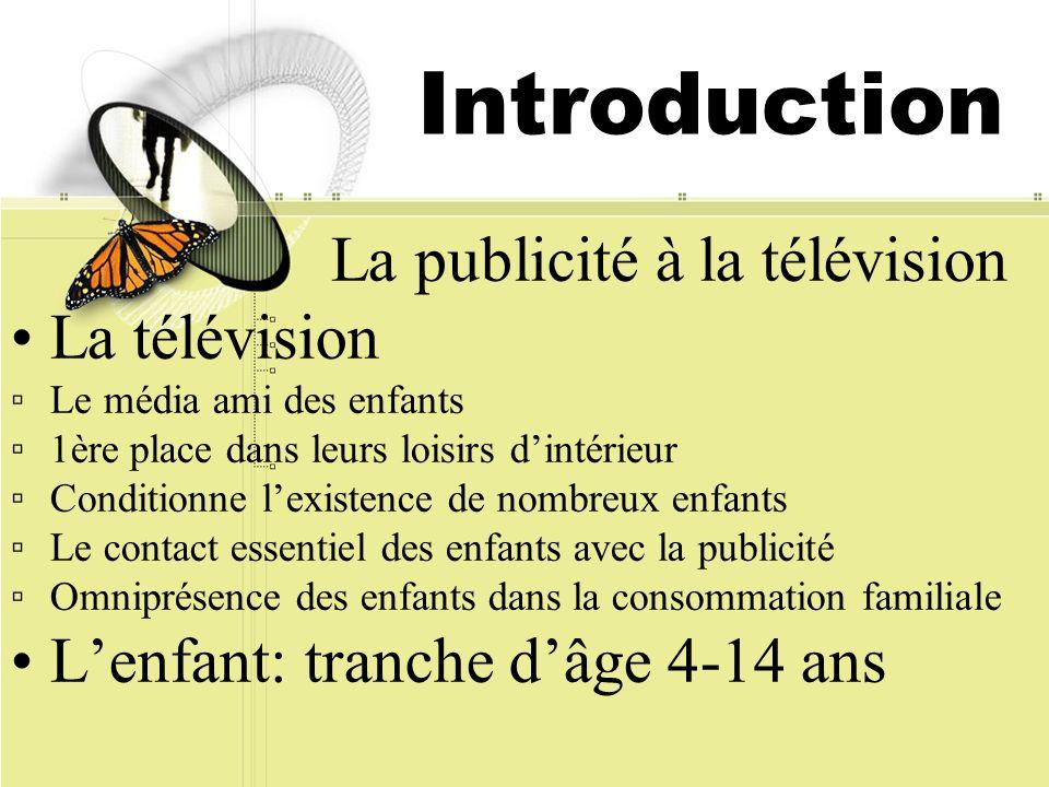 Introduction La publicité à la télévision La télévision Le média ami des enfants 1ère place dans leurs loisirs dintérieur Conditionne lexistence de no