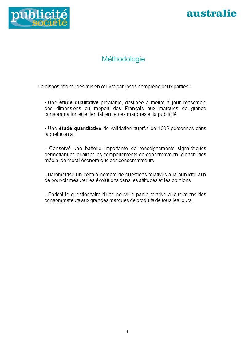 Méthodologie Le dispositif détudes mis en œuvre par Ipsos comprend deux parties : Une étude qualitative préalable, destinée à mettre à jour lensemble des dimensions du rapport des Français aux marques de grande consommation et le lien fait entre ces marques et la publicité.