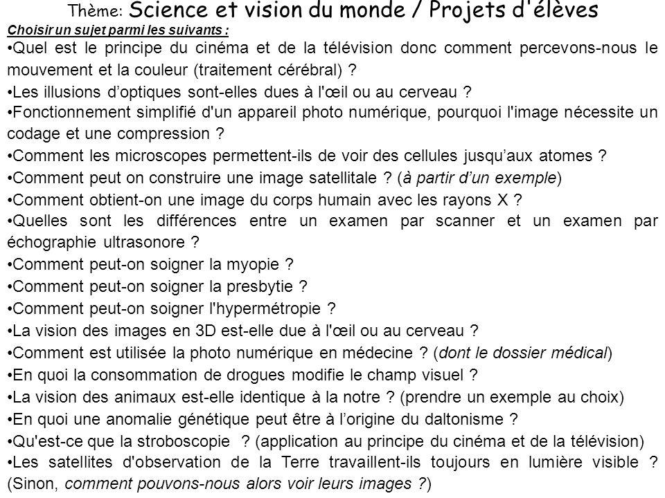 Thème: Science et vision du monde / Projets d élèves Choisir un sujet parmi les suivants : Quel est le principe du cinéma et de la télévision donc comment percevons-nous le mouvement et la couleur (traitement cérébral) .