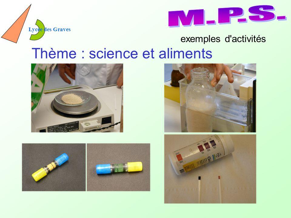 Lycée des Graves Thème : science et aliments exemples d activités