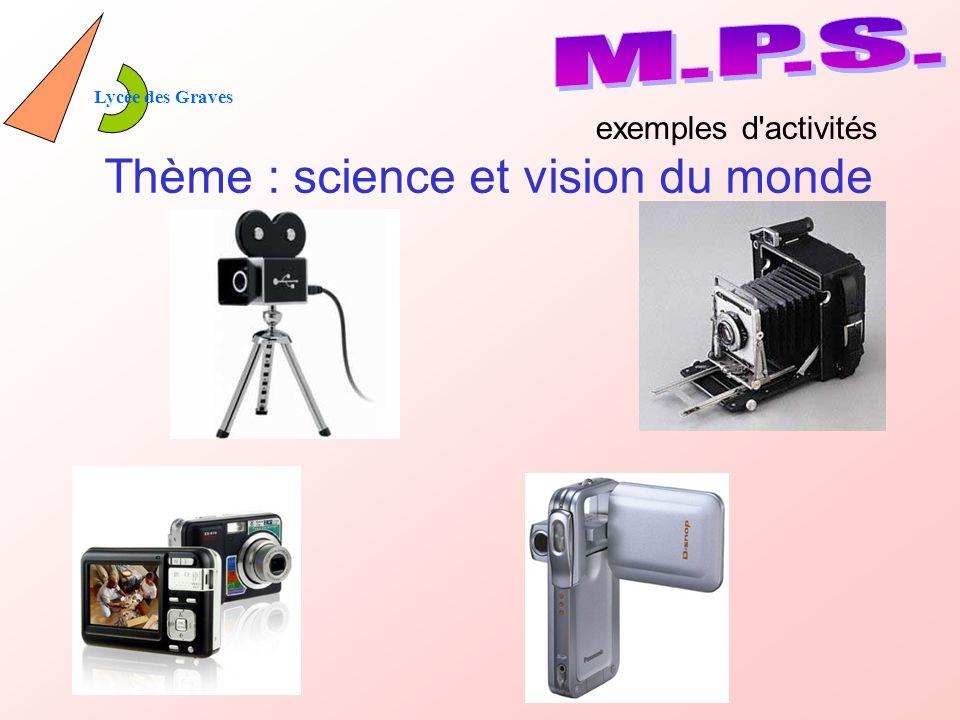 Lycée des Graves Thème : science et vision du monde exemples d activités