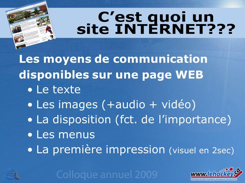 Le texte Les images (+audio + vidéo) La disposition (fct.