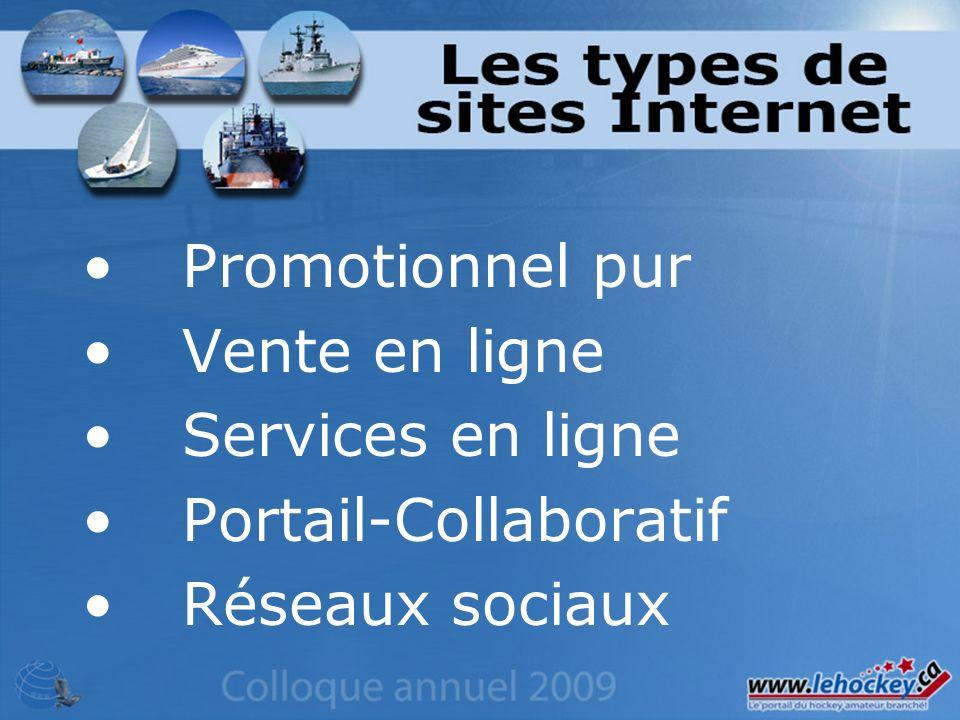 Promotionnel pur Vente en ligne Services en ligne Portail-Collaboratif Réseaux sociaux